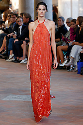 Model Leila Goldkuhl walks on the runway during the Alberta Ferretti Fashion Show during Milan Fashion Week Spring Summer 2018 held in Milan, Italy on September 20, 2017. (Photo by Jonas Gustavsson/Sipa USA)