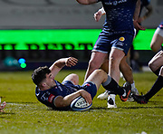 Sale Sharks Cameron Neild scores late in the game during a Gallagher Premiership Round 9 Rugby Union match, Friday, Feb 12, 2021, in Leicester, United Kingdom. (Steve Flynn/Image of Sport)
