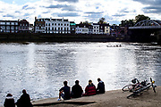 Chiswick, Greater London, UK., 11th October 2020, Pairs Head of the River Race,  spectators watching the race from the foreshore, Restricted entry, and Shortened Course, COVID-19,  Barnes Bridge and Dukes Meadows location, [Mandatory Credit: Peter Spurrier/Intersport Images]