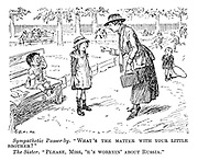 """Sympathetic passer-by. """"What's the matter with your little brother?"""" The sister. """"Please, Miss, 'e's worryin' about Russia."""""""
