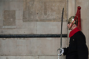 A soldier from the Household Cavalry holds a sword as he stands gurad at Horse Guards in Whitehall, London, UK. Friday January 5th 2018