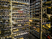 29 JANUARY 2016 - BANGKOK, THAILAND: The wine cellar at L'atelier de Joel Robuchon, an exclusive French restaurant owned by French chef Joel Robuchon. The restaurant features counter style seating which looks into the kitchen so diners can watch the chefs work.          PHOTO BY JACK KURTZ
