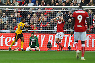 Goal - Ivan Cavaleiro (7) of Wolverhampton Wanderers celebrates scoring a goal to give a 0-1 lead to the away team  during the The FA Cup 5th round match between Bristol City and Wolverhampton Wanderers at Ashton Gate, Bristol, England on 17 February 2019.