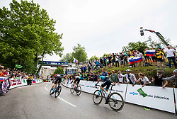 Matej MOHORIC of BAHRAIN VICTORIOUS and Diego ULISSI of UAE TEAM EMIRATES at finish line during 2nd Stage of 27th Tour of Slovenia 2021 cycling race between Zalec and Celje (147 km), on June 10, 2021 in Slovenia. Photo by Vid Ponikvar / Sportida