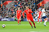 Loren Dykes (2) of Wales during the FIFA Women's World Cup UEFA Qualifier match between England Ladies and Wales Women at the St Mary's Stadium, Southampton, England on 6 April 2018. Picture by Graham Hunt.