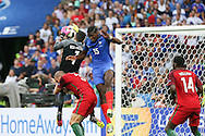 France Midfielder Paul Pogba jumps with Portugal Goalkeeper Rui Patricio during the Euro 2016 final between Portugal and France at Stade de France, Saint-Denis, Paris, France on 10 July 2016. Photo by Phil Duncan.