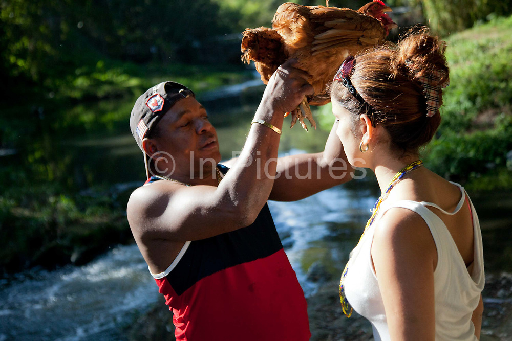 Babalawo blessing a young woman with a chicken before sacrificing it into the river. Bosque Almendares in Havana is an important place for Santeria ceremonies where ahderents make offerings to the Orishas. Santeria is a syncretic religion practiced in Cuba, it is a mixture of Yoruba tribal practices brought from Nigeria during Colonial times, and traditional Catholic beliefs. During this time, the slaves used the images of saints to cover up their worship of the Orishas (spirits).