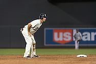 Joe Mauer #7 of the Minnesota Twins leads off 2nd base during a game against the Chicago White Sox on June 19, 2013 at Target Field in Minneapolis, Minnesota.  The Twins defeated the White Sox 7 to 4.  Photo: Ben Krause