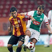Galatasaray's Juan Emmanuel CULIO (L) during their Turkish Super League soccer match Galatasaray between Konyaspor at the T T Arena at Seyrantepe in Istanbul Turkey on Sunday, 20 May 2011. Photo by TURKPIX