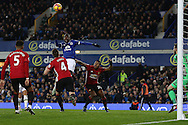 Enner Valencia of Everton (c) looks to get his head to the ball. Premier league match, Everton v Manchester United at Goodison Park in Liverpool, Merseyside on Sunday 4th December 2016.<br /> pic by Chris Stading, Andrew Orchard sports photography.