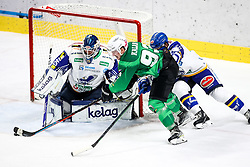 Luka Kalan of HK SZ Olimpija vs Alexander Schmidt of EC Grand Immo VSV during ice hockey match between HK SZ Olimpija Ljubljana and EC GRAND Immo VSV in bet-at-home ICE Hockey League, on October 22, 2021 in Hala Tivoli, Ljubljana, Slovenia. Photo by Morgen Kristan / Sportida
