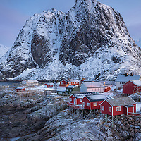 Early light illuminates the tiny fishing village of Hamnøy, in northern Norway's Lofoten Islands.