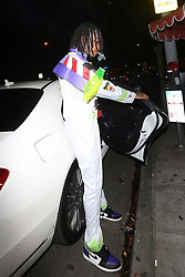 Rapper Wiz Khalifa is dressed as Buzz Lightyear from the movie 'Toy Story' as he heads to the Delilah club to party on Halloween night in West Hollywood. 01 Nov 2018 Pictured: Wiz Khalifa. Photo credit: MEGA TheMegaAgency.com +1 888 505 6342