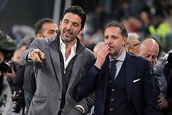 May 19, 2019 - Turin, Turin, Italy - Gianluigi Buffon and Fabio Paratici during the serie A match between Juventus FC and Atalanta BC at Allianz Stadium on May 19, 2019 in Turin, Italy. (Credit Image: © Giuseppe Cottini/NurPhoto via ZUMA Press)