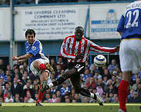 Photo: Lee Earle.<br /> Portsmouth v Sunderland. The Barclays Premiership. 22/04/2006. Pompey's Svetoslav Todorov (L) fires home their equalising goal.
