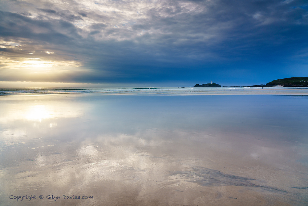 A last minute break in the day's heavy clouds created some stunning streaks of light in both sky & on land. We headed for Gwithian where I knew low tide would give me some opportunity for wonderful reflections and thankfully it was a wise decision.