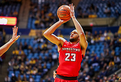 Dec 1, 2018; Morgantown, WV, USA; Youngstown State Penguins forward Olamide Pedersen (23) shoots a three pointer during the first half against the West Virginia Mountaineers at WVU Coliseum. Mandatory Credit: Ben Queen-USA TODAY Sports