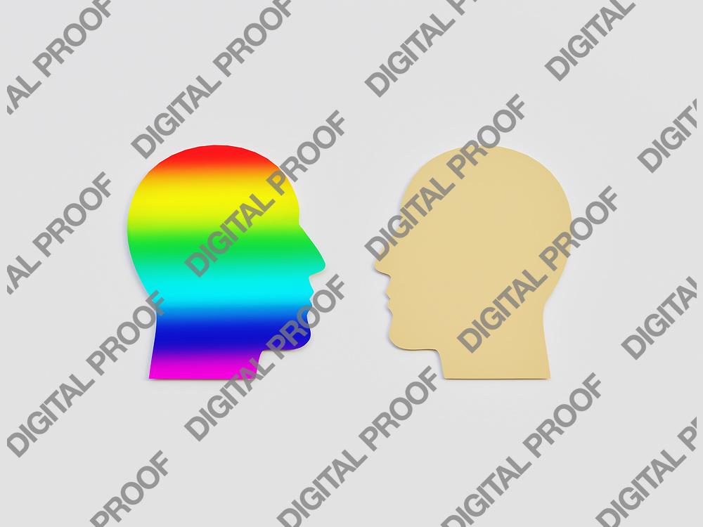 LGBT Men Head and Caucasian Men Head seeing each other Cut Art Paper - 3D Rendering Concept