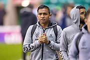Alfredo Morelos (#20) of Rangers FC arrives at the stadium before the Ladbrokes Scottish Premiership match between Hibernian and Rangers at Easter Road, Edinburgh, Scotland on 19 December 2018.