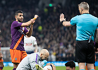 Football - 2018 / 2019 UEFA Champions League - Quarter Final , First Leg: Tottenham Hotspur vs. Manchester City<br /> <br /> Riyad Mahrez (Manchester City) questions the referee at White Hart Lane Stadium.<br /> <br /> COLORSPORT/DANIEL BEARHAM