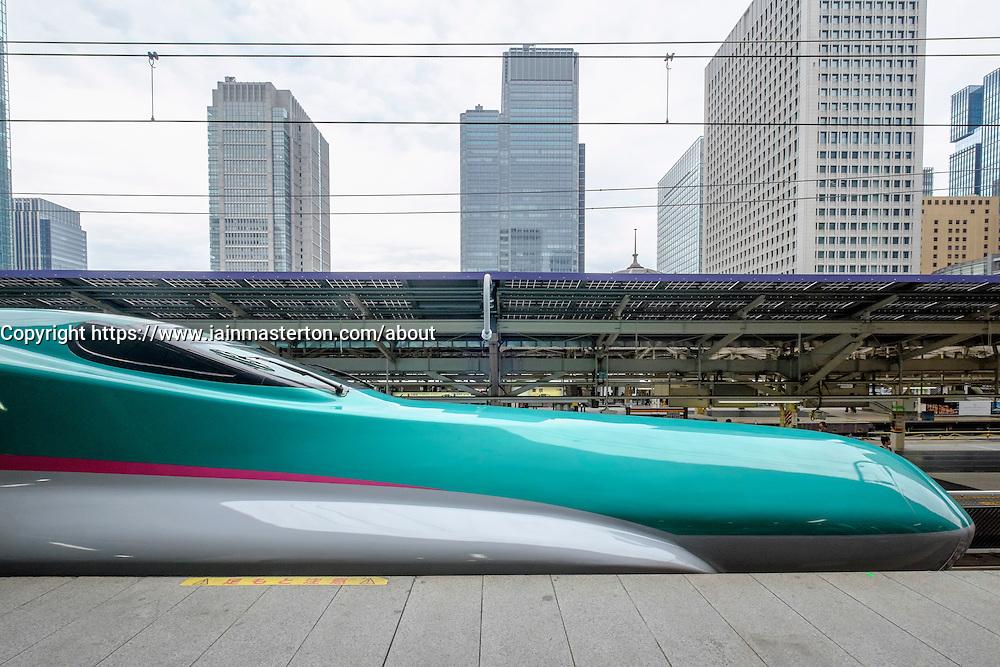 Hayabusa E5 Shinkansen bullet train of East Japan Railways at Tokyo Station Japan