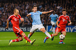 Bayern Forward Arjen Robben (NED) scores a goal during the second half of the match - Photo mandatory by-line: Rogan Thomson/JMP - Tel: Mobile: 07966 386802 - 02/10/2013 - SPORT - FOOTBALL - Etihad Stadium, Manchester - Manchester City v Bayern Munich - UEFA Champions League Group D.