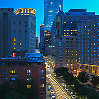 Beantown skyline photography from Boston photographer Juergen Roth showing the Boston Statler Park, Park Plaza hotel Boston and John Hancock Tower lined along Columbus Avenue in the Back Bay. The left features a rental apartment complex. <br />