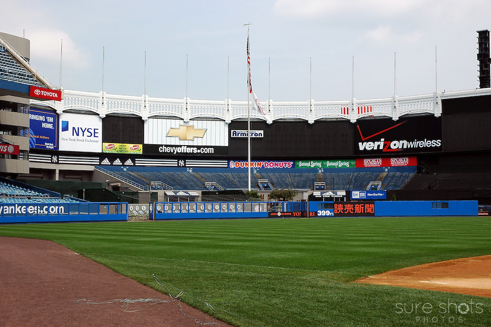 Original Yankee Stadium center field outfield and bleachers as seen from the infield.  This picture was taken during the last year the Yankees played in this famous stadium.