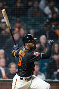 San Francisco Giants center fielder Austin Jackson (16) bats against the Oakland Athletics at AT&T Park in San Francisco, California, on March 26, 2018. (Stan Olszewski/Special to S.F. Examiner)