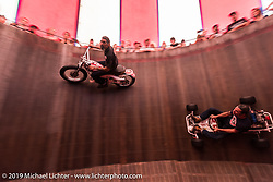 Charlie Ransom rides the American Motordrome Wall of Death with Dallas Dan in the go-cart on Sunday at the Handbuilt Motorcycle Show. Austin, TX. April 12, 2015.  Photography ©2015 Michael Lichter.