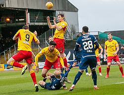 Partick Thistle's Steven Saunders heads clear. Dundee 2 v 0 Partick Thistle, Scottish Championship game played 8/2/2020 at Dundee stadium Dens Park.