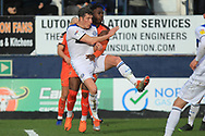 Jim McNulty clears during the EFL Sky Bet League 1 match between Luton Town and Rochdale at Kenilworth Road, Luton, England on 2 March 2019.
