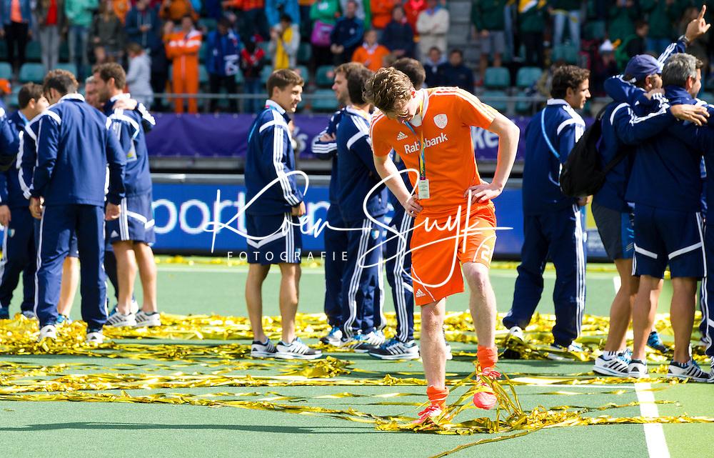 DEN HAAG - Teleurstelling bij Seve van Ass na de finale van de Rabobank Worldcup Hockey , tussen de mannen van Nederland en Australie. ANP KOEN SUYK