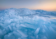 Mountains of blue ice at dawn - Straits of Mackinac