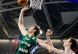 Erazem Lorbek (15) of Slovenia vs Omer Asik of Turkey during the EuroBasket 2009 Group F match between Slovenia and Turkey, on September 16, 2009 in Arena Lodz, Hala Sportowa, Lodz, Poland. Slovenia won 69:67. (Photo by Vid Ponikvar / Sportida)