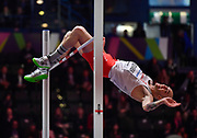 Sylwester Bednarek (POL) places sixth in the high jump at 7-4 1/2 (2.25m)during the IAAF World Indoor Championships at Arena Birmingham in Birmingham, United Kingdom on Thursday, Mar 1, 2018. (Steve Flynn/Image of Sport)