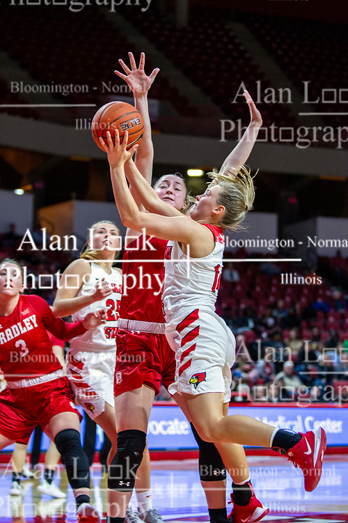 NORMAL, IL - February 07: Paige Saylor during a college women's basketball game between the ISU Redbirds and the Braves of Bradley University February 07 2020 at Redbird Arena in Normal, IL. (Photo by Alan Look)