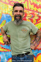 American Motordrome's Wall of Death Rider Charlie Ransom on Friday before the grand opening that evening of the Handbuilt Motorcycle Show. Austin, TX. April 10, 2015.  Photography ©2015 Michael Lichter.