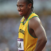 Yohan Blake, Jamaica, before competing in the Men's 4 x 100m relay semi final at the Olympic Stadium, Olympic Park, during the London 2012 Olympic games. London, UK. 10th August 2012. Photo Tim Clayton