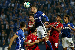 GELSENKIRCHEN, Sept. 30, 2017  Leon Goretzka (Top) of Schalke 04 heads the ball during the German Bundesliga match between Schalke 04 and Bayer Leverkusen in Gelsenkirchen, Germany, on Sept. 29, 2017. The match ended with a 1-1 tie. (Credit Image: © Joachim Bywaletz/Xinhua via ZUMA Wire)