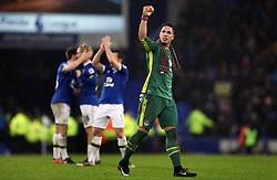 Everton goalkeeper Joel Robles celebrates at the final whistle