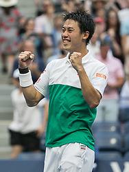 September 5, 2018 - Flushing Meadows, New York, U.S - KEI NISHIKORI celebrates his Men's Singles Quarterfinal win against M. Cilic on Day 10 of the 2018 US Open, held at USTA Billie Jean King National Tennis Center. Nishikori won, 6-2, 4-6, 7-6(7-5), 4-6, 6-4. (Credit Image: © Prensa Internacional via ZUMA Wire)