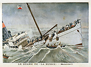Drama of the wreck of the transatlantic liner 'La Russie'. Passengers being lowered into a lifeboat.  From 'Le Petit Journal', Paris, 27 January 1901.