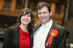 © Licensed to London News Pictures . 16/11/2012 . Manchester , UK . Winner , Lucy Powell of the Labour Party with her husband , James Williamson . Manchester Central by election count at Manchester Central Convention Centre . Photo credit : Joel Goodman/LNP