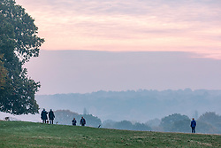 © Licensed to London News Pictures. 06/11/2020. London, UK. Walkers enjoy the misty and foggy start to the day in Richmond Park, South West London as a colder front arrives for the South East of England bringing with it bright and sunnier weather for the weekend. Photo credit: Alex Lentati/LNP