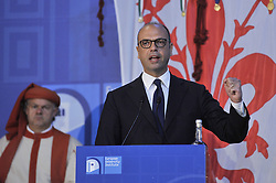 May 5, 2017 - Florence, Florence, Italy - Angelino Alfano, Italian Minister of Foreign Affairs during his speech at 'The State of the Union' conference in the Salone dei Cinquecento of Palazzo Vecchio in Florence..The State of the Union conference, organised by the European University Institute (EUI), is an annual event for high-level reflection on the European Union  (Credit Image: © Giacomo Morini/Pacific Press via ZUMA Wire)