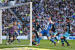 Goal, Lewis Dunk of Brighton & Hove Albion scores, Brighton & Hove Albion 1-0 Sheffield Wednesday - Mandatory by-line: Jason Brown/JMP - 16/05/2016 - FOOTBALL - Amex Stadium - Brighton, England - Brighton and Hove Albion v Sheffield Wednesday - Sky Bet Championship Play-off Semi-final second leg