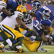 Giants running back Andre Brown makes a first down during the New York Giants Vs Green Bay Packers, NFL American Football match at MetLife Stadium, East Rutherford, New Jersey, USA. 17th November 2013. Photo Tim Clayton