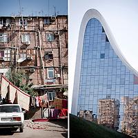 Left:<br /> Baku, Azerbaijan, 24 July 2012<br /> A Nagorno-Karabakh war IDP (internal displaced people) settlement in Baku.<br /> <br /> Right:<br /> Baku, Azerbaijan 26 July 2012<br /> Heydar Aliyev Centre, designed by Zaha Hadid architects.<br /> Photo: Ezequiel Scagnetti