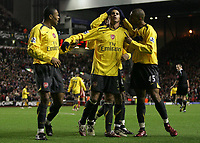 Photo: Paul Thomas.<br /> Liverpool v Arsenal. Carling Cup. 09/01/2007.<br /> <br /> Arsenal celebrate Julio Baptista's (L) four goal by congratulating Jeremie Alladiere (C) who set it up.